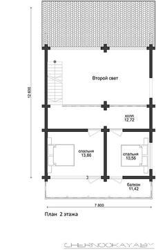 Двухэтажный коттедж из деревянного бруса с просторными балконами и террасой