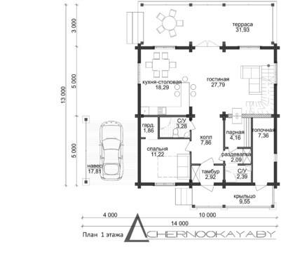Интересный загородный дом с верандой, террасой и навесами