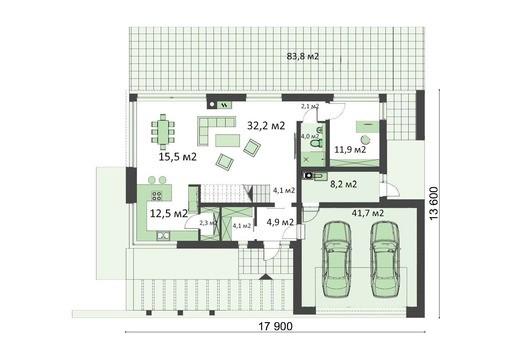 Двухэтажный комфортный коттедж с гаражом на два автомобиля
