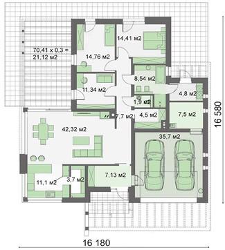 Современная стильная вилла в один этаж