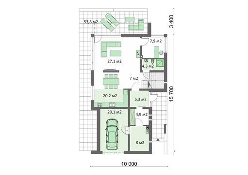 Жилой дом на два этажа с красивой гостиной