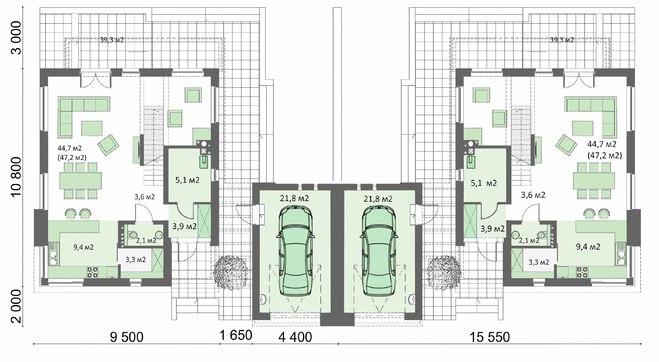 Таунхаус на два этажа с гаражом под общей кровлей