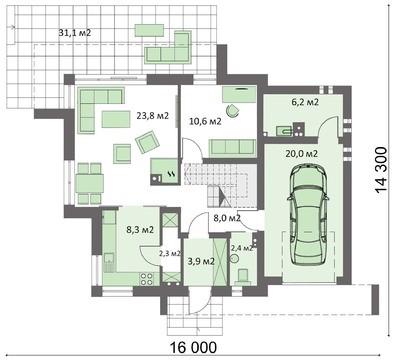 Интересный проект особняка с кабинетом на первом этаже