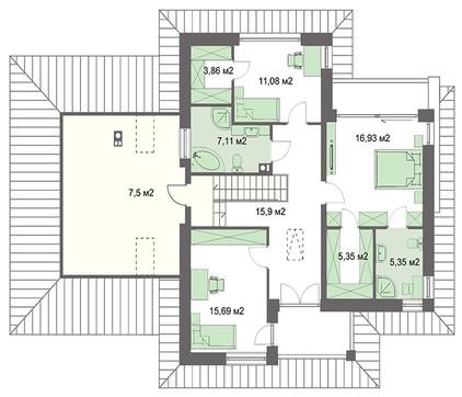 Двухэтажный дом с гаражом и кабинетом