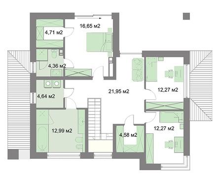 Двухэтажный жилой дом с удобной планировкой