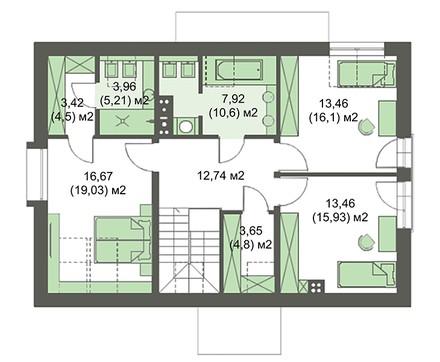 Двухэтажный стильный дом с тремя спальнями и тремя санузлами