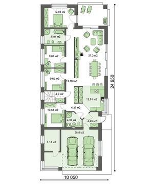 Одноэтажный дом для узкого участка с четырьмя спальнями