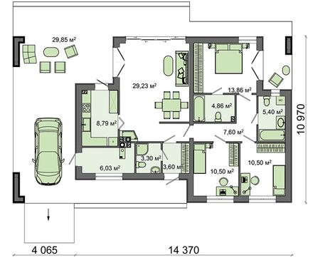 Проект небольшого одноэтажного стильного дома хай - тек с гаражом на одну машину