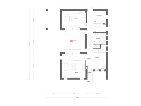 Современный коттедж Г-образной формы с внутренним двориком