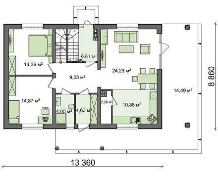Проект дома с мансардой по типу 4M508 с измененной планировкой