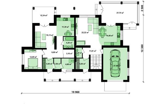 Проект удобного загородного коттеджа с гаражом на 2 семьи