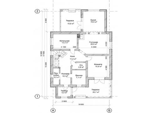 Проект коттеджа с террасой и балконом площадью 200 m²