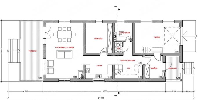 Проект 2х этажного дома для узкого участка