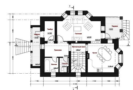 Проект загородного жилого двухэтажного дома в старинном стиле