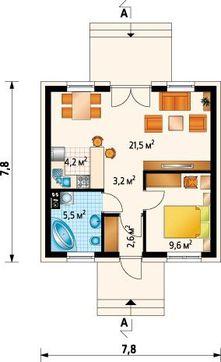 Миниатюрный коттедж с чердаком и одной спальней