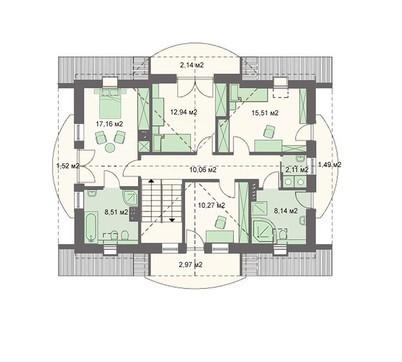 Архитектурный проект стильного загородного коттеджа с полукруглыми формами