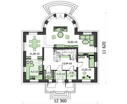 Красивый жилой дом с полукруглой гостиной
