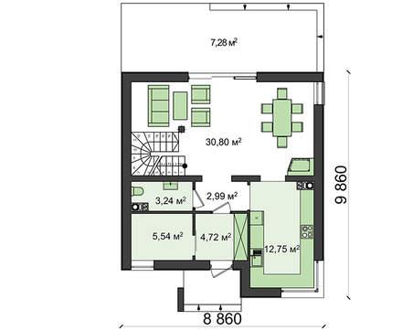 Проект небольшого классического дома с современным фасадом