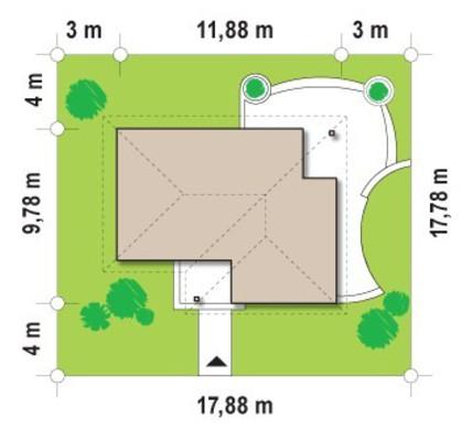 Проект небольшого одноэтажного коттеджа с тремя спальнями