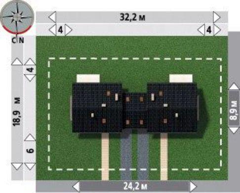 Проект коттеджа на две семьи со встроенным гаражом