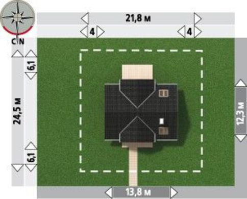 Проект чудесного загородного дома с большими комнатами и кухней