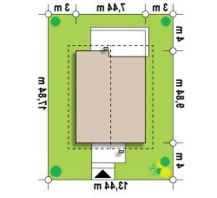 Проект небольшого классического коттеджа для узкого участка