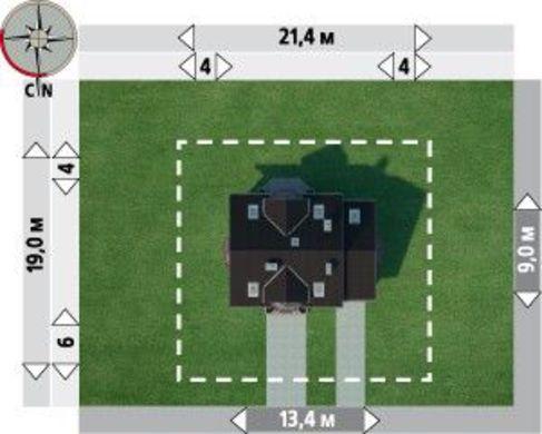 Проект для строительства симпатичного коттеджа с гаражом на 1 авто и эркером