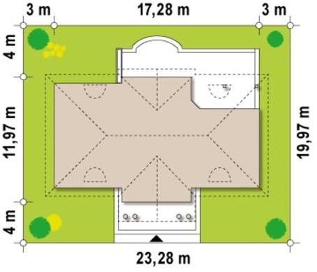 Проект дома в ретро стиле с четырехскатной крышей и мансардой