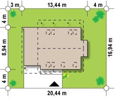 Проект небольшого одноэтажного коттеджа с террасой над гаражом