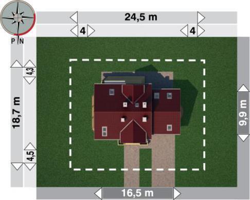 Проект для строительства симпатичного коттеджа с гаражом на 2 авто и эркером