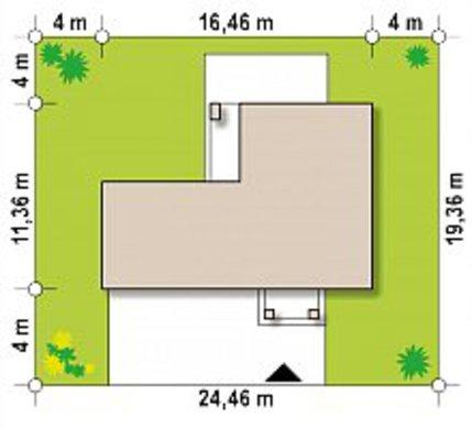 Небольшой двухэтажный дом с гаражом в пристройке