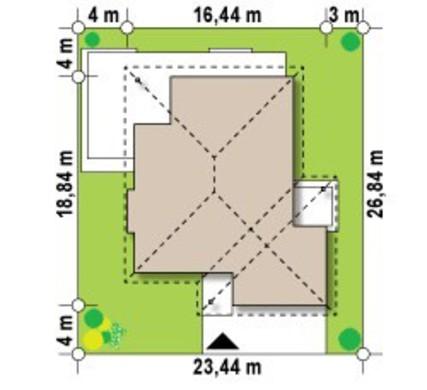 Проект одноэтажного коттеджа с эркером и террасой