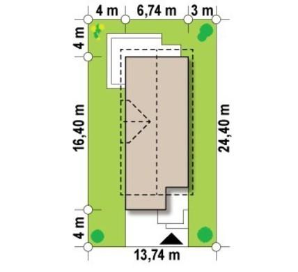 Проект коттеджа с гаражом для узкого участка