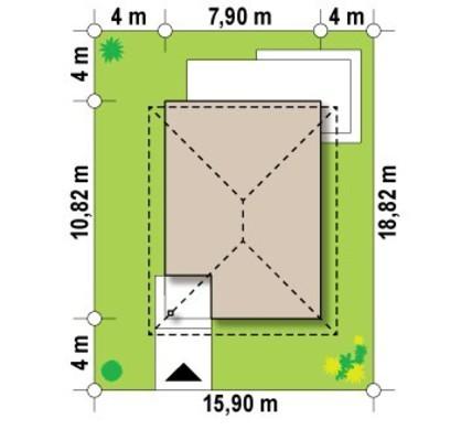 Проект 2х этажного коттеджа с большой террасой на 2ом этаже