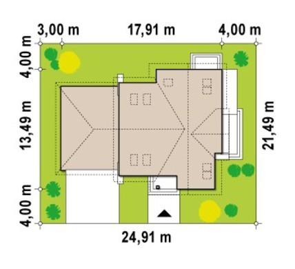 Проект коттеджа с гаражом для двух машин и террасой