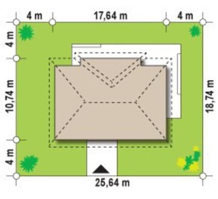 Классический одноэтажный коттедж с 4-мя спальнями