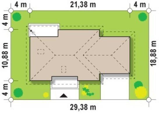 Проект одноэтажного коттеджа с большим гаражом