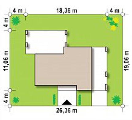 Одноэтажный дом с плоской крышей для узкого участка