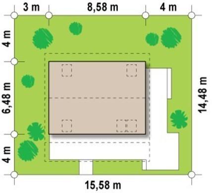 Проект компактного дачного домика с фронтальной террасой