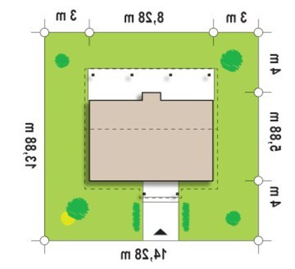 Проект небольшого бюджетного одноэтажного коттеджа с деревянным фасадом