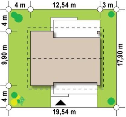 Проект одноэтажного коттеджа с небольшим чердаком
