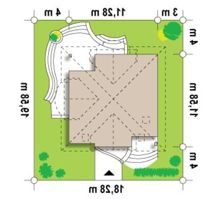 Проект дома с мансардой и кирпичным фасадом
