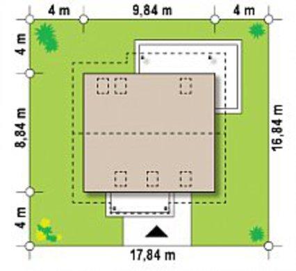 Планировка компактного коттеджа с мансардным этажом площадью 133 кв. м