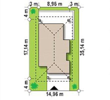 Чертеж компактного коттеджа площадью 89 кв. м для небольшой семьи