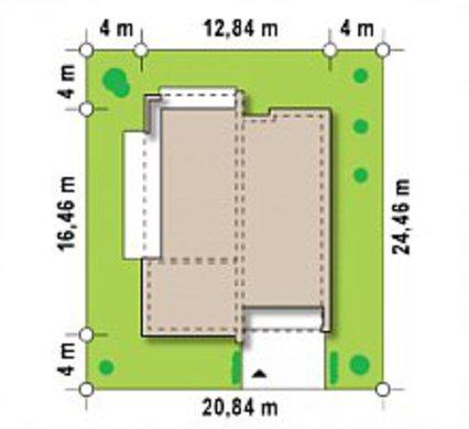 Чертеж стильного лаконичного коттеджа площадью 148 кв. м