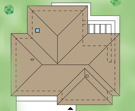 Одноэтажный жилой дом с колоннами и гаражом на три автомобиля