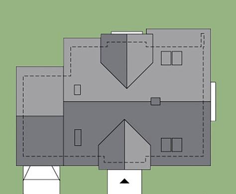 Современный двухэтажный дом с декором из камня