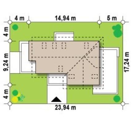 Проект коттеджа с мансардой и дополнительным помещением на первом этаже