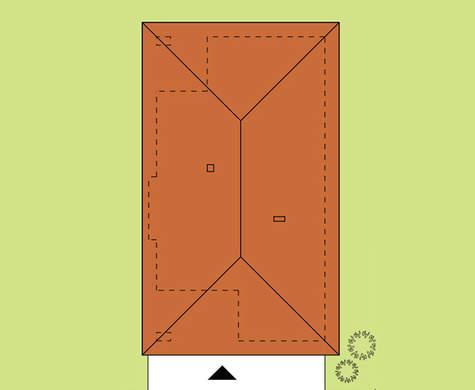 Схема комфортабельного одноэтажного жилого дома на 3 спальни и 3 санузла