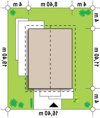 Проект небольшого одноэтажного коттеджа с удобным боковым входом